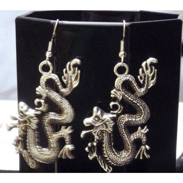 2 Inch Fire Breathing Asian/Chinese Dragon Earrings 813 - celtic-mink-jewelry