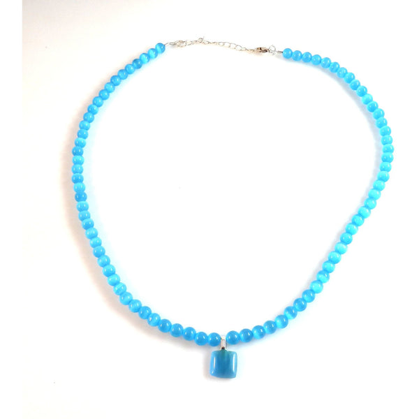 Light Blue Catseye Necklace and Pendant 1812