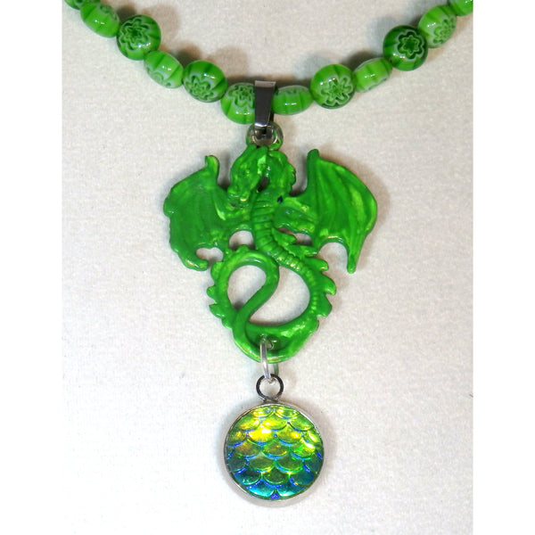 Green Dragon and Matching Glass Beaded Necklace 1454