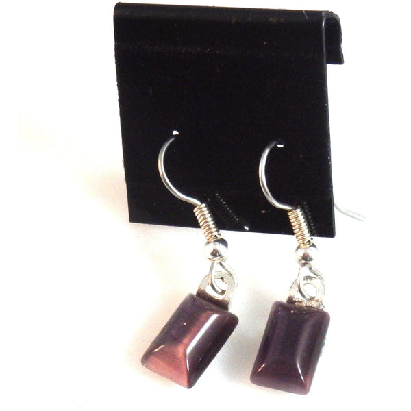 Purple Catseye Glass Earrings 1878