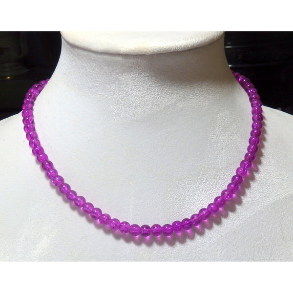 Purple Beaded Crystalline Necklace   1567 - celtic-mink-jewelry