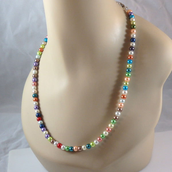 Colorful Rainbow Glass Bead  Necklace 1787