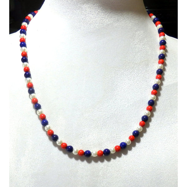 Red White and Blue Beaded Necklace  1588 - celtic-mink-jewelry