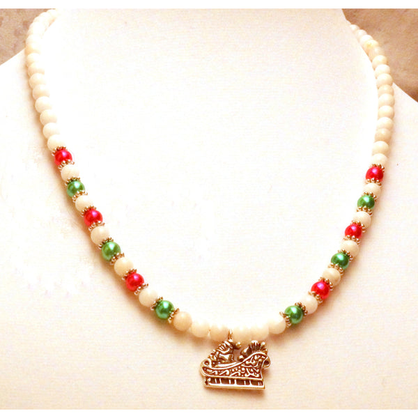 Santa's Sleigh White and Colored Glass Beaded Necklace  1194