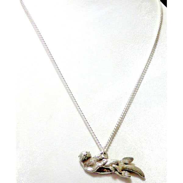 Sea otter and pup necklace