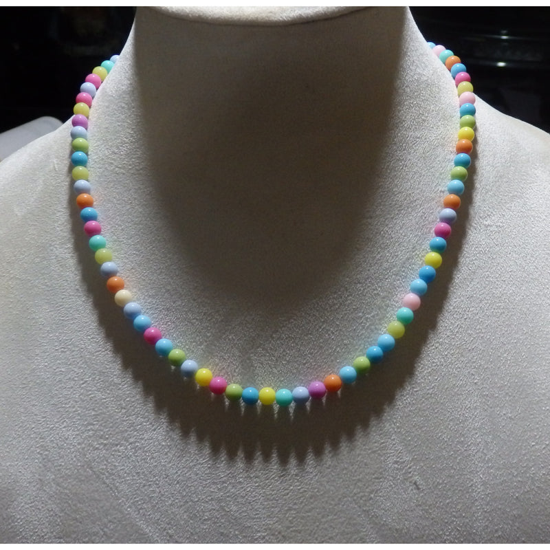 Pastel Colors Beaded Acrylic Necklace 1583