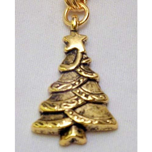 Gold tone Matching Christmas Tree Necklace and Earrings Set 1235 - celtic-mink-jewelry