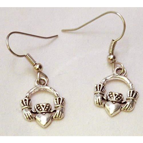 Tiny Claddagh Earrings 708 - celtic-mink-jewelry