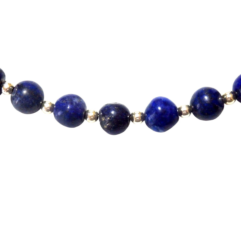 Lapis Lazuli and Silver Tone Metal Beads Necklace 1182