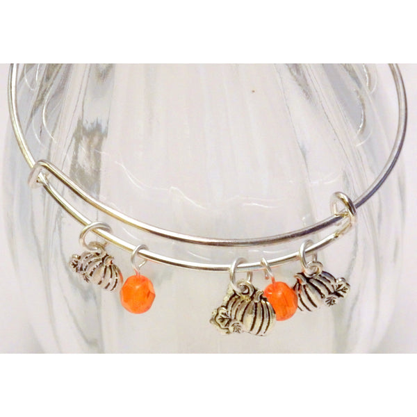 Beaded Pumpkin Bangle 1160 - celtic-mink-jewelry