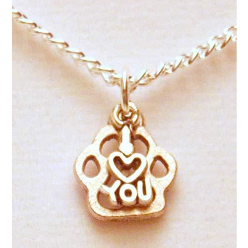 I Love You Paw Print Necklace 626 - celtic-mink-jewelry