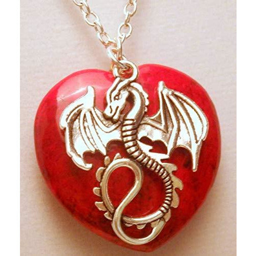 Dragon and Red Heart Stone Necklace 453 Red - celtic-mink-jewelry