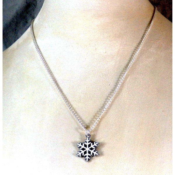 Enamel White Snowflake Necklace 1702 - celtic-mink-jewelry