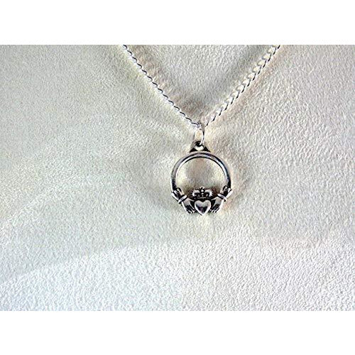 Tiny Claddagh Necklace 1553 - celtic-mink-jewelry