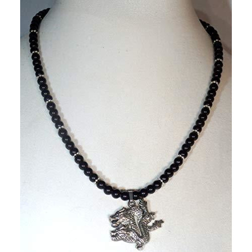 Dragon and Natural Obsidian Beaded Necklace 1229 - celtic-mink-jewelry
