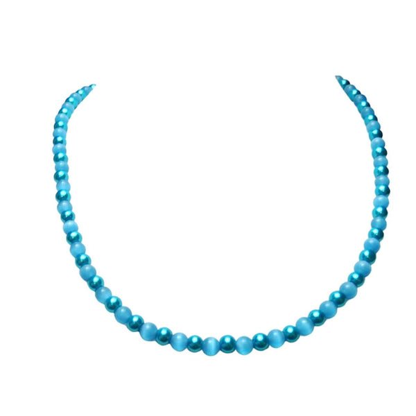 Aqua Blue Beaded Glass Necklace 1492