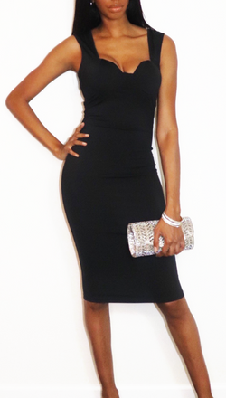Cocktail Midi Dress in Black - nineth closet
