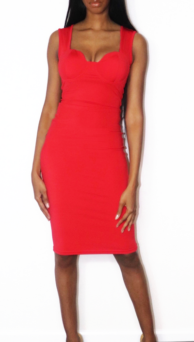 Cocktail Midi Dress in Red - nineth closet