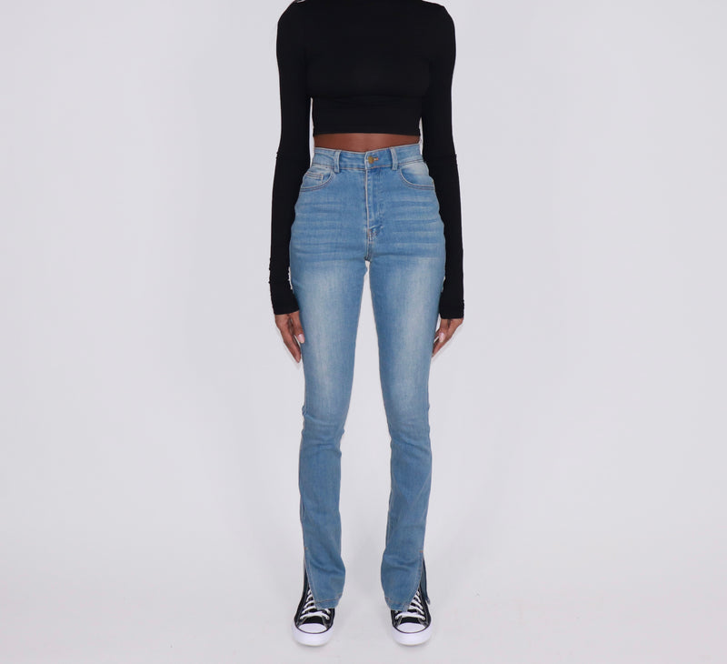 Seam Slit Boot Cut Denim (Light Wash) - nineth closet