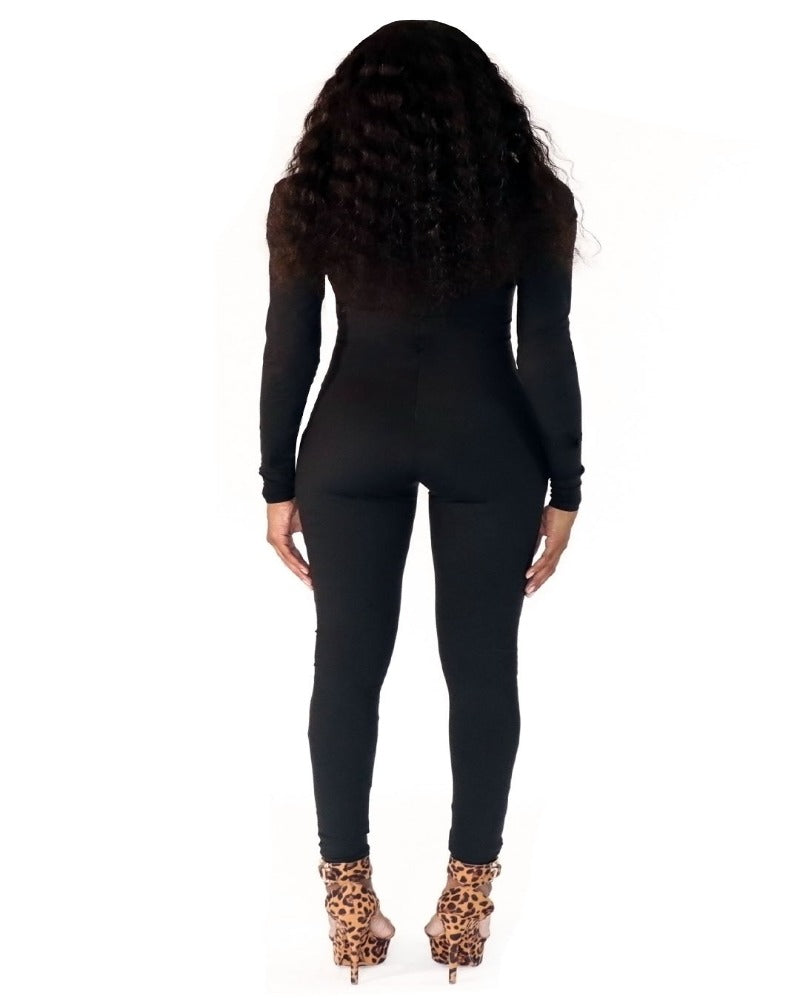 Asymmetrical Catsuit in Black - nineth closet