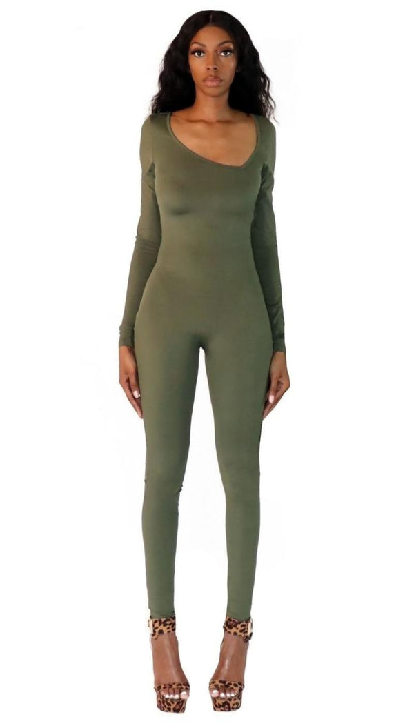 Asymmetrical Catsuit in Olive - nineth closet