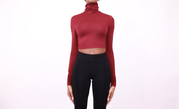 turtleneck crop maroon - nineth closet