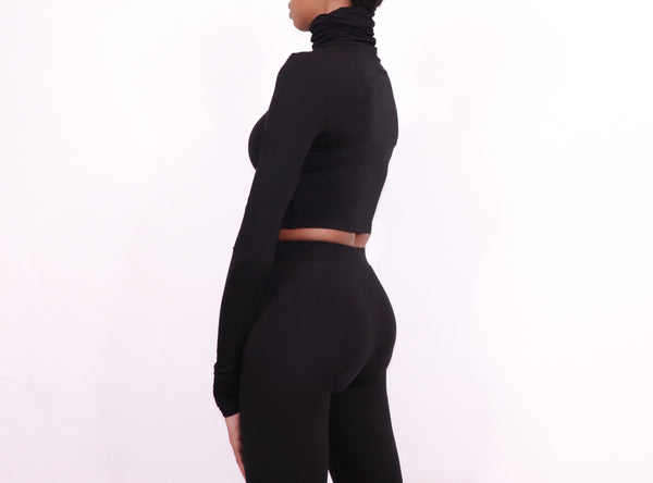 turtleneck crop black - nineth closet