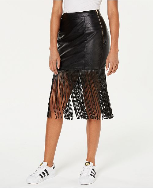 Vegan Leather Fringe Skirt