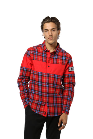 Color Blocked Flannel Shirt