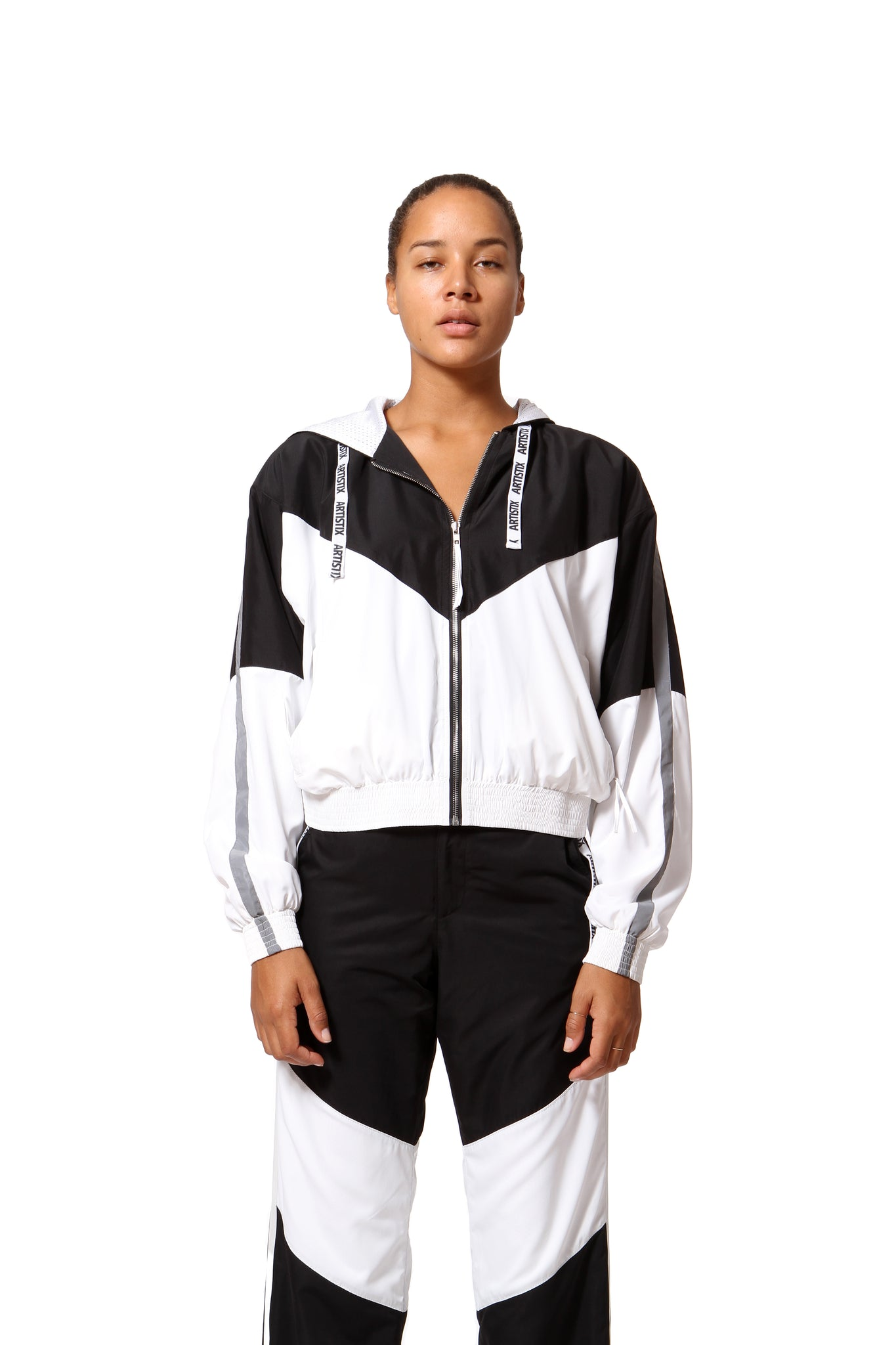 Cropped Windbreaker - Black & White