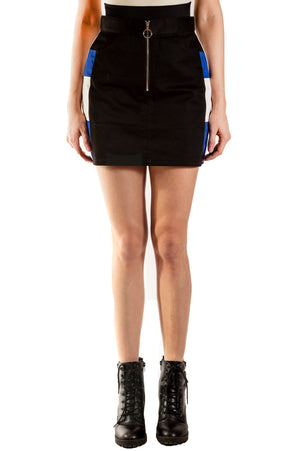 Color Block Skirt - Black/Blue