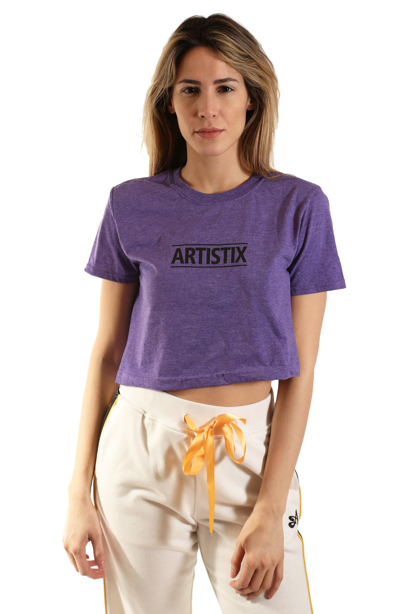 Block Logo Cropped Tee - Heather Purple