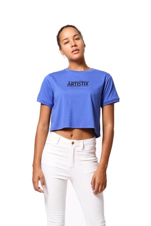 Block Logo Cropped Tee - Blue