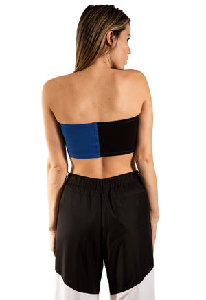 Color Block Tube Top - Black/Blue
