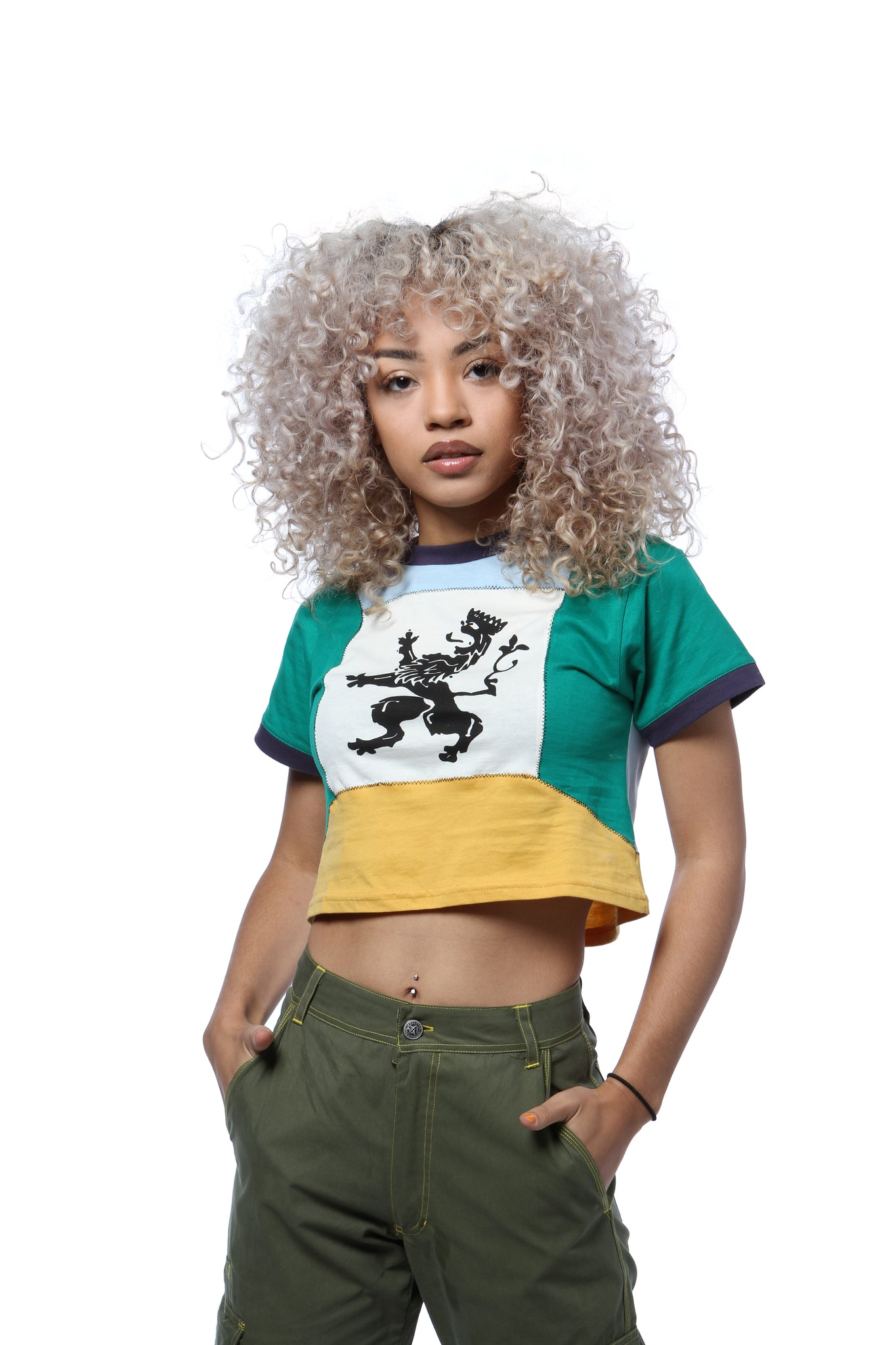 Lion Color Block Crest Crop Tee