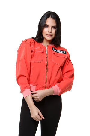 Contrast Stitch Bomber