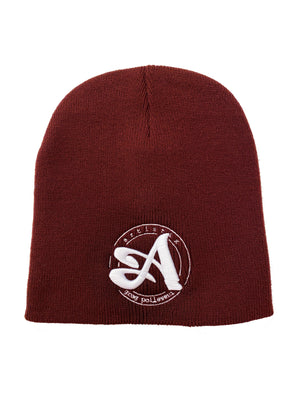 A Circle 3D Embroidered Beanie - Maroon