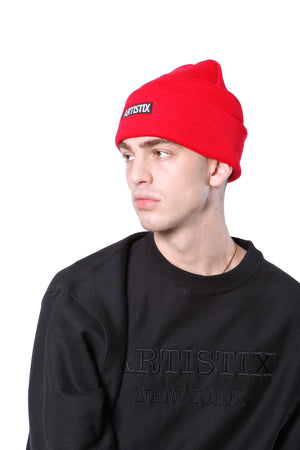 "Block Logo 12"" Embroidered Beanie - Red"