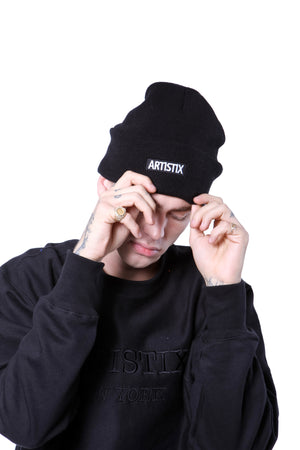 "Block Logo 12"" Embroidered Beanie - Black"