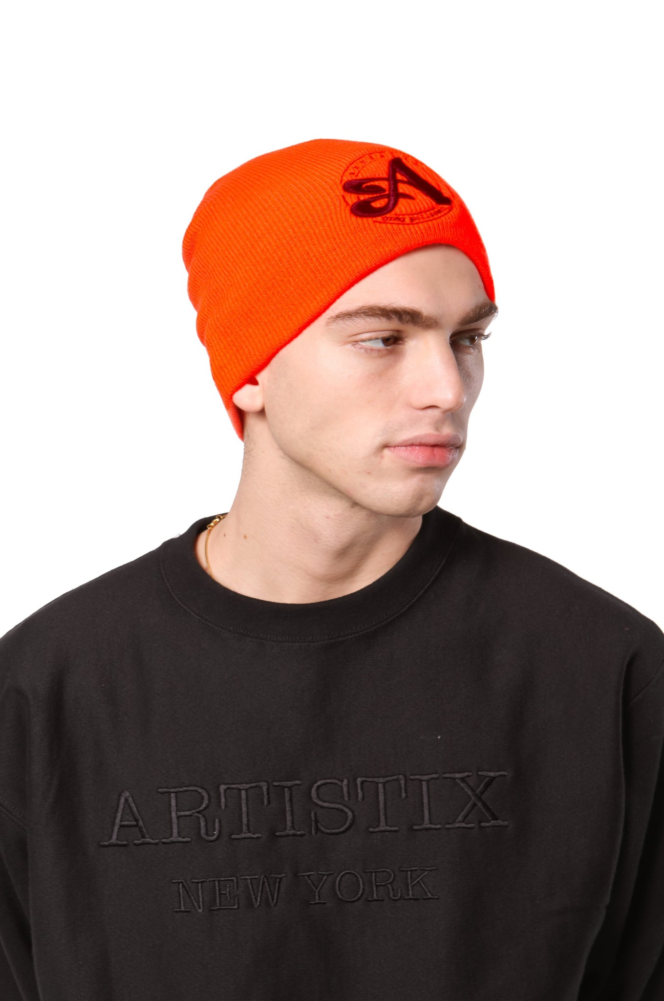 A Circle 3D Embroidered Beanie - Blaze Orange