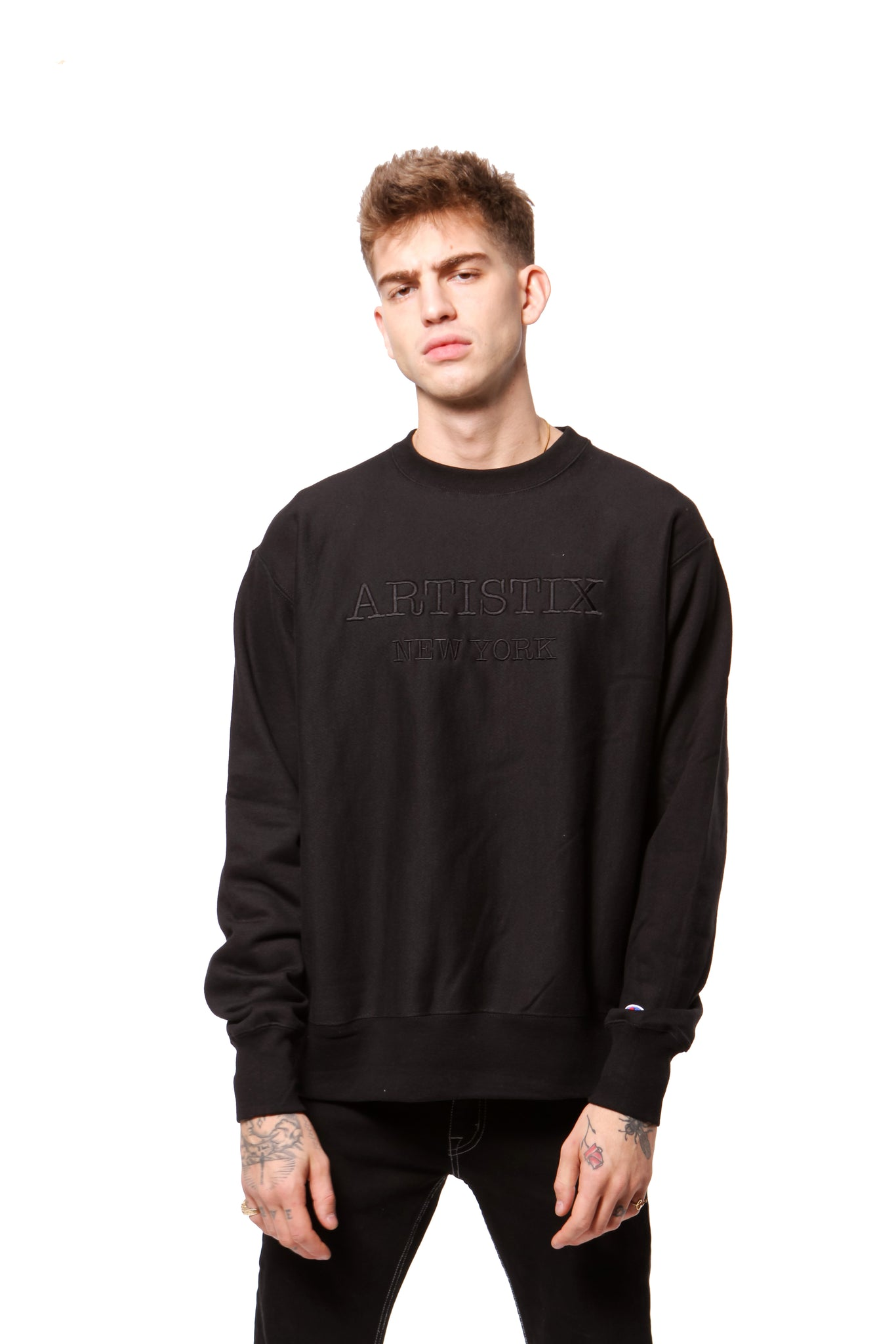 Embroidered NY Pullover  - Black