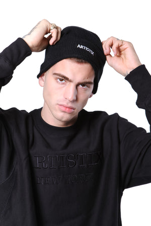Block Logo Embroidered Oversized Beanie
