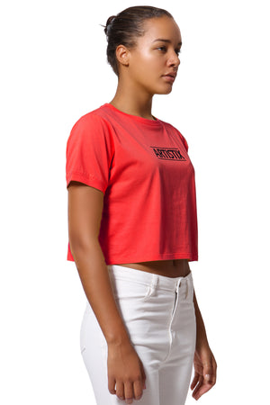 Block Logo Cropped Tee - Red