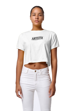 Block Logo Cropped Tee - White