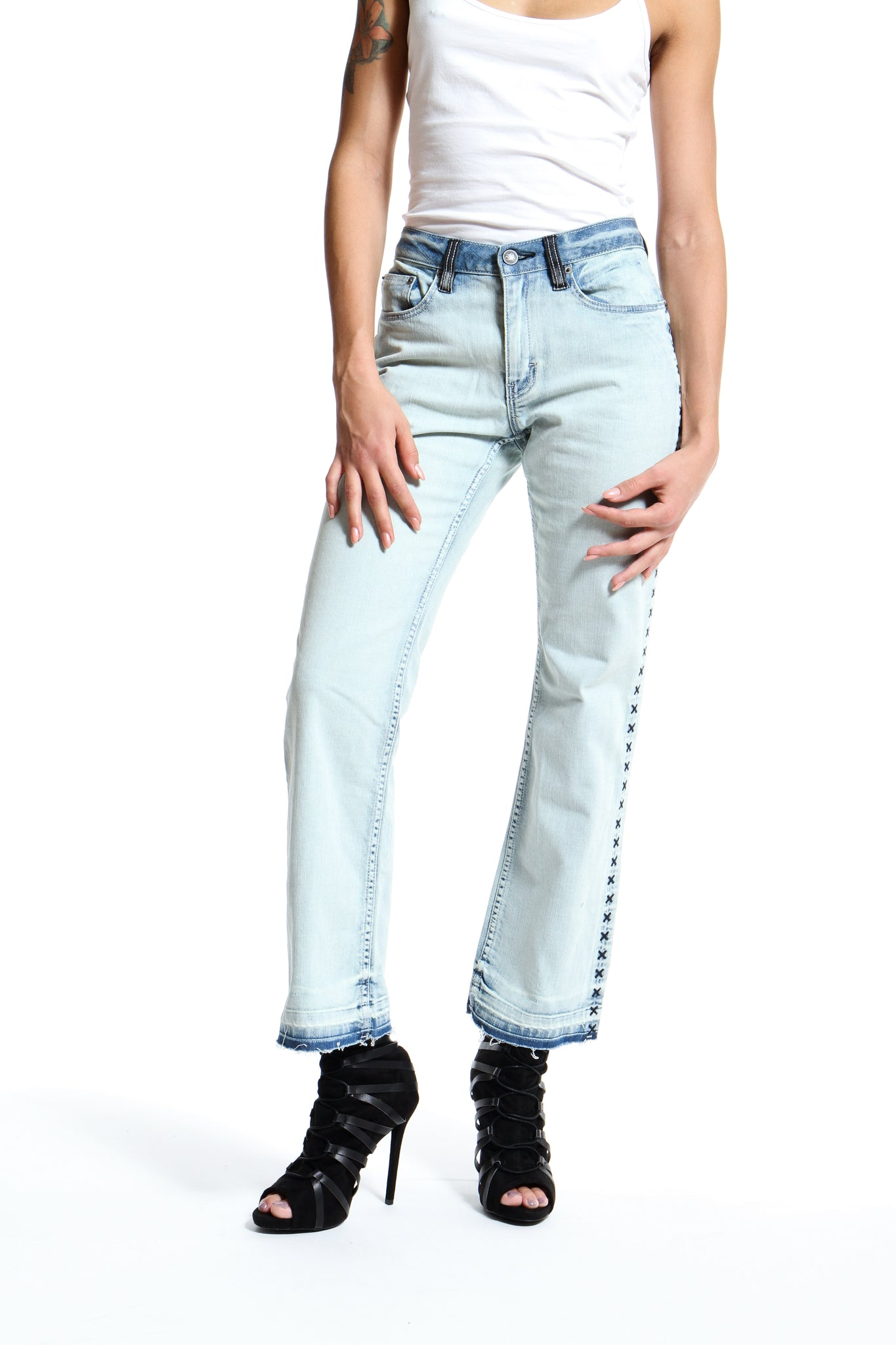 Embroidered Colorblocked Bootcut Jeans