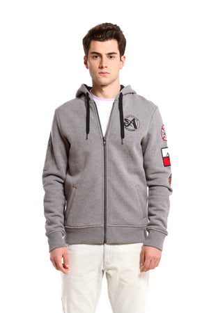 Patchwork Hoodie - Heather Gray
