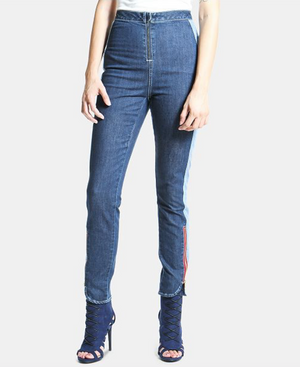 Two-Tone Zip Front Jeans