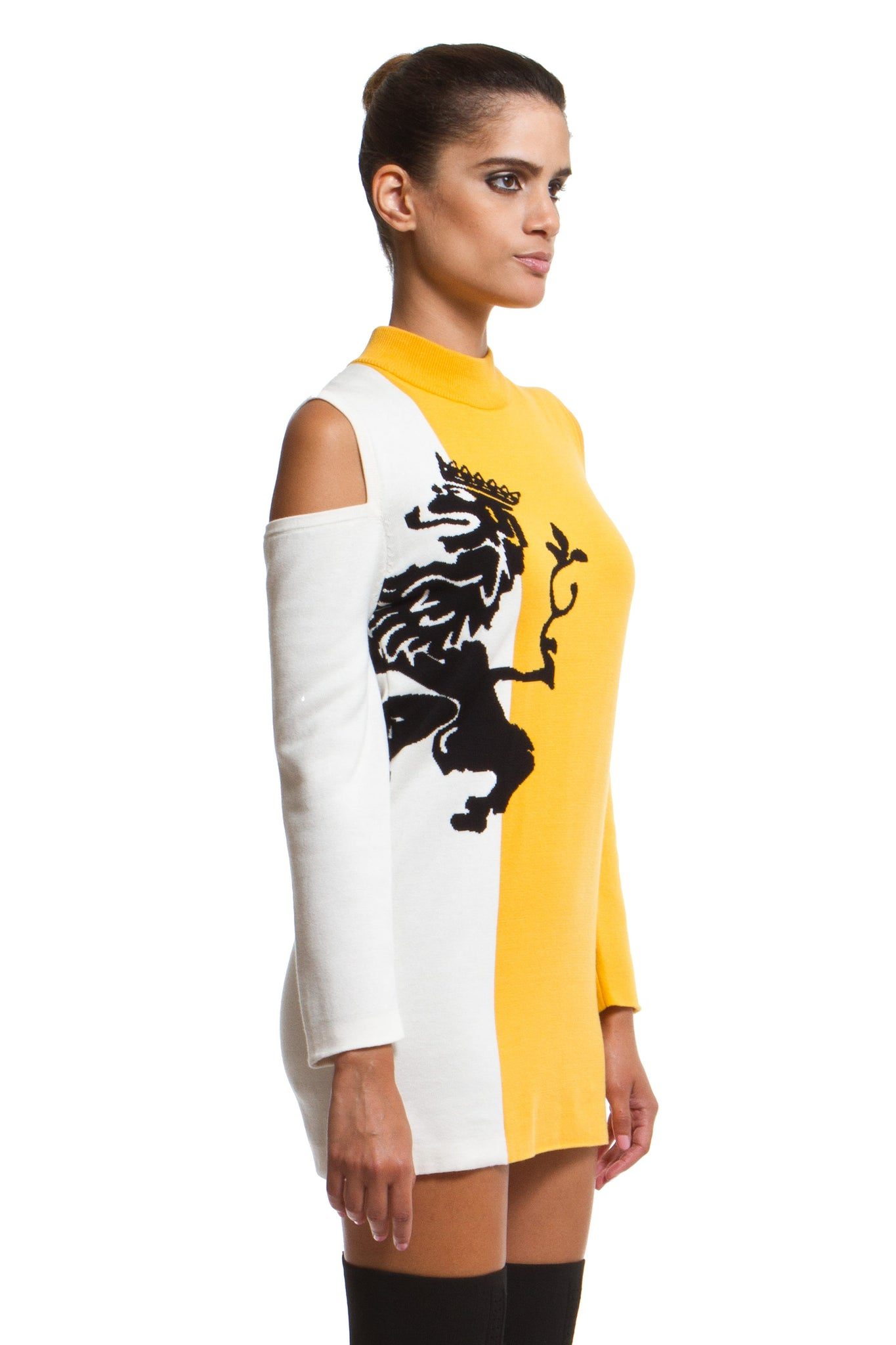 Bold Crest Sweater Dress - Yellow