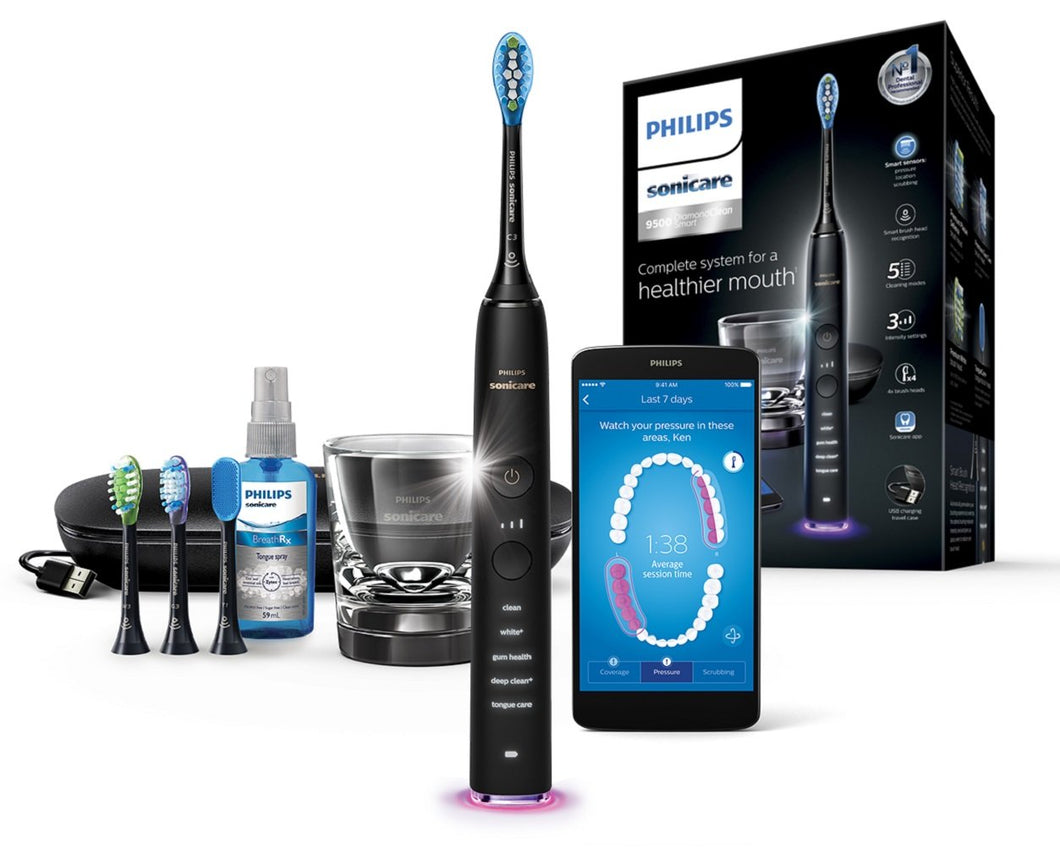 Philips Sonicare DiamondClean Smart Electric Toothbrush - Black Edition (UK 2-Pin Bathroom Plug) HX9924/14