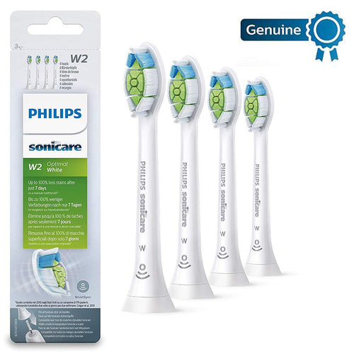 Philips Genuine Sonicare Optimal White Replacement Brush Heads, 4 Pack, White - HX6064/12